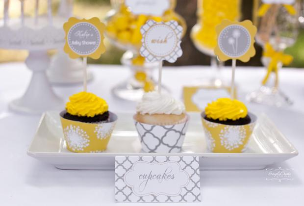 dreams and wishes dandelion baby shower party ideas via babyshoweridesa4u cupcake wish and dream toppers 2