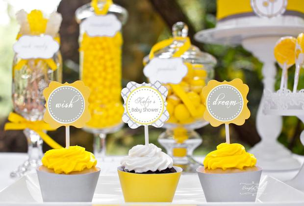 dreams and wishes dandelion baby shower party ideas via babyshoweridesa4u cupcake wish and dream toppers