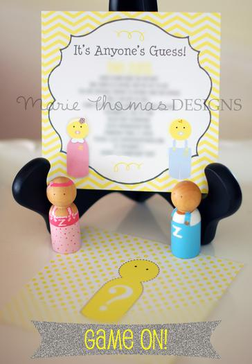 gender reveal baby shower party, girl or boy, fringe backdrop, happy for you stamp, peg doll invitation