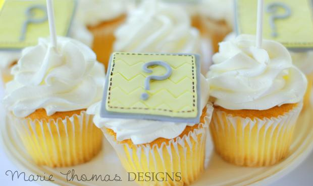 gender reveal baby shower party, girl or boy, question mark