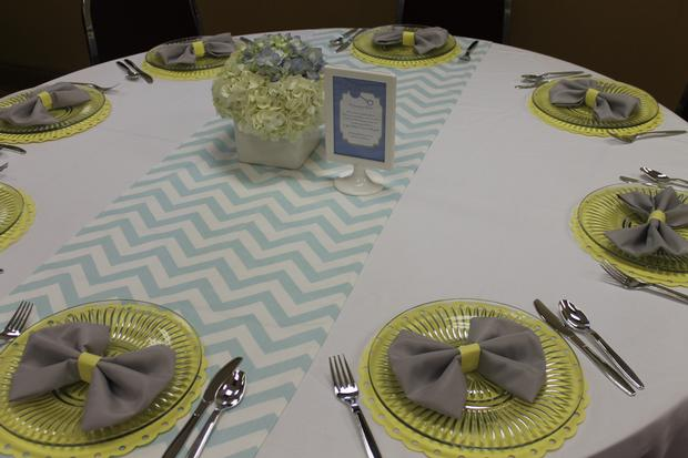 gray blue yellow baby shower ideas via babyshowerideas4u bow tie napkin