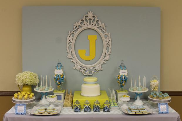gray blue yellow baby shower ideas via babyshowerideas4u delicious dessert table 14