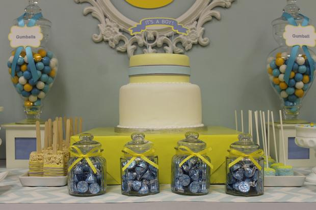 gray blue yellow baby shower ideas via babyshowerideas4u delicious dessert table 3