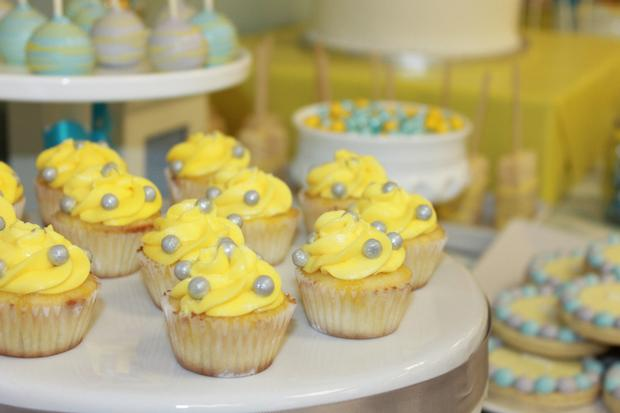 gray blue yellow baby shower ideas via babyshowerideas4u delicious dessert table 4