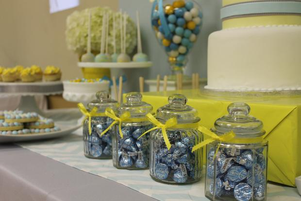 gray blue yellow baby shower ideas via babyshowerideas4u delicious dessert table 9