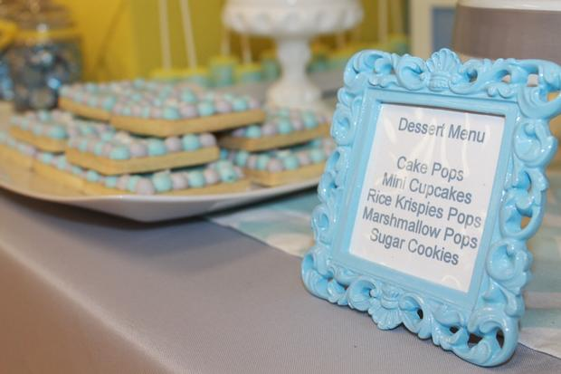gray blue yellow baby shower ideas via babyshowerideas4u delicious dessert table menu