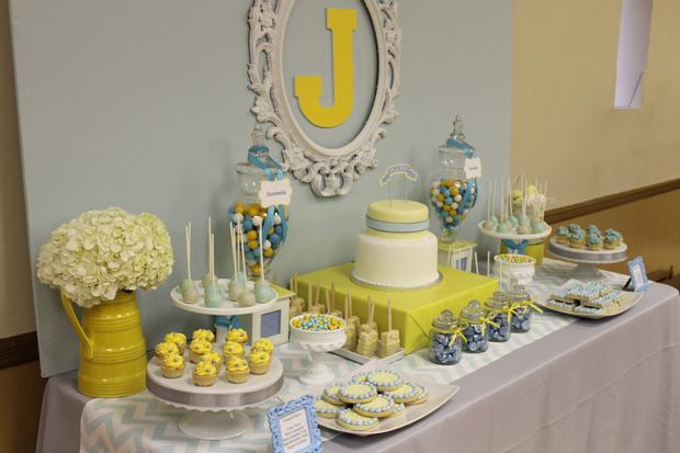 gray blue yellow baby shower ideas via babyshowerideas4u delicious dessert table side