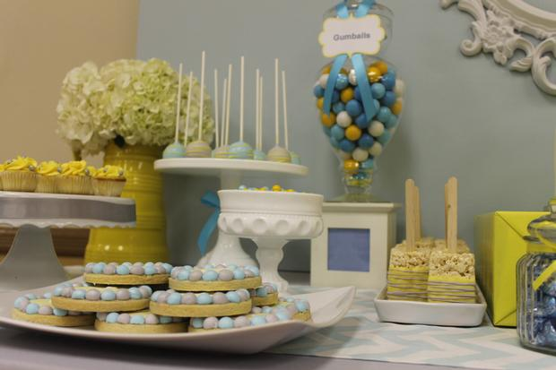 gray blue yellow baby shower ideas via babyshowerideas4u delicious dessert table