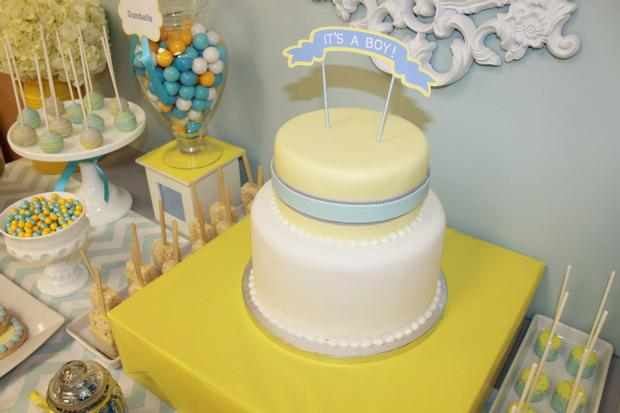 gray blue yellow baby shower ideas via babyshowerideas4u it's a boy cake