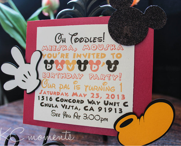 mickey mouse cute invitation