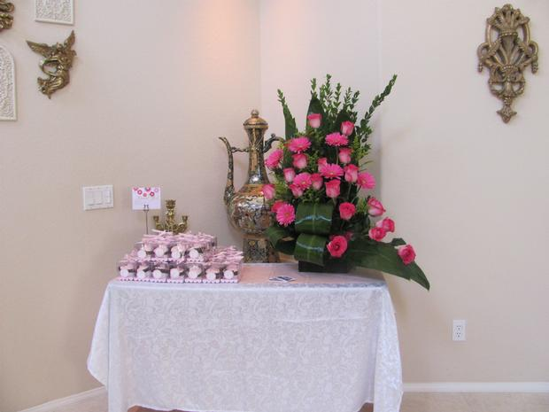 oh baby shower ideas gift table with cute boxes of favors