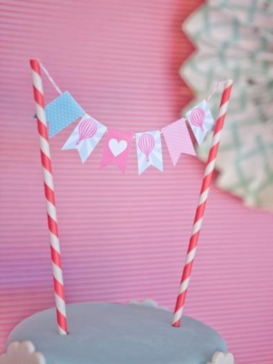 pink vintage hot air balloon baby shower via babyshowerideas4u cake bunting