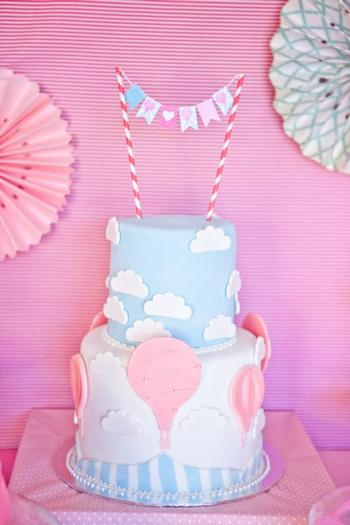 pink vintage hot air balloon baby shower via babyshowerideas4u cake
