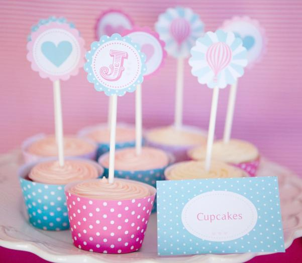 pink vintage hot air balloon baby shower via babyshowerideas4u cupcakes