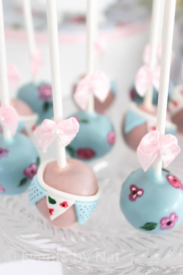 shabby chic party ideas by nat via baby shower ideas and shops babyshowerideas4u.com -cakepops