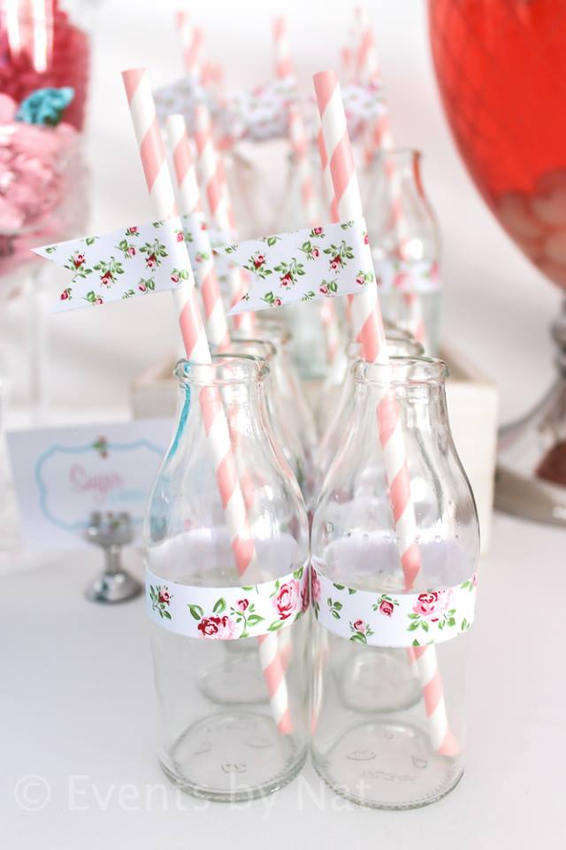 shabby chic party ideas by nat via baby shower ideas and shops babyshowerideas4u.com - drinkng jars