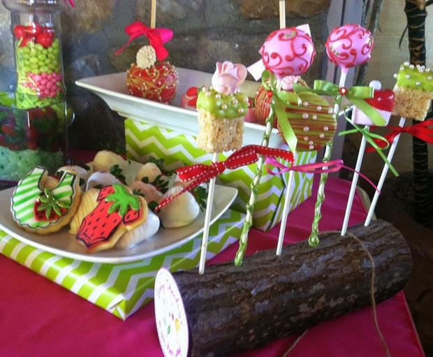 strawberry themed baby shower party ideas by maria via babyshowerideas4u cakepops rice krispies on a timber log