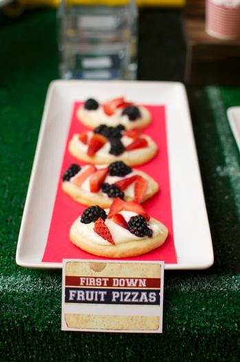 superbowl inspired football baby shower party via babyshowerideas4u fruit pizzaz