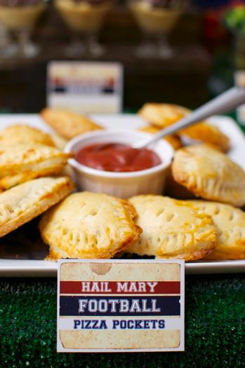 superbowl inspired football baby shower party via babyshowerideas4u pizza pockets