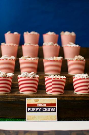 superbowl inspired football baby shower party via babyshowerideas4u puppy chow