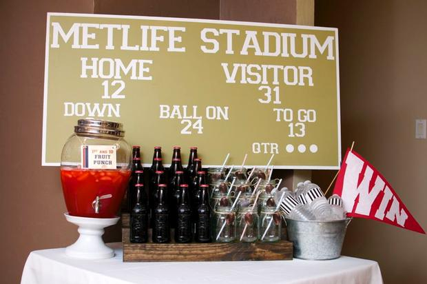 superbowl inspired football baby shower party via babyshowerideas4u stadium poster  backdrop