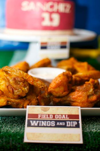 superbowl inspired football baby shower party via babyshowerideas4u wings and dips