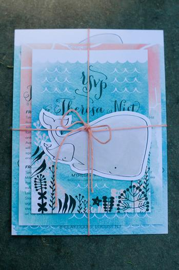 under the sea baby shower ideas, blue colors, whale soap favors, frappucino bottles, beautifully designed invitations