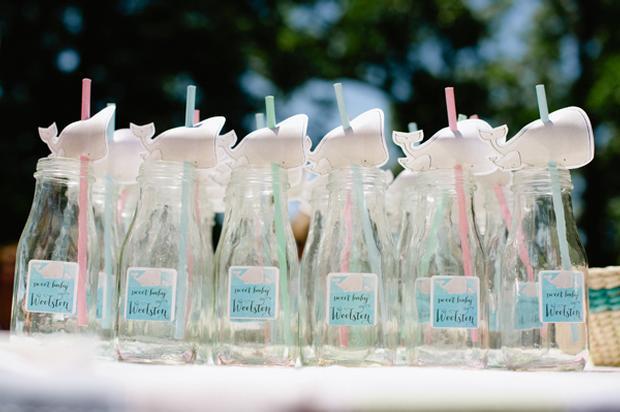 under the sea baby shower ideas, blue colors, whale soap favors, frappucino bottles