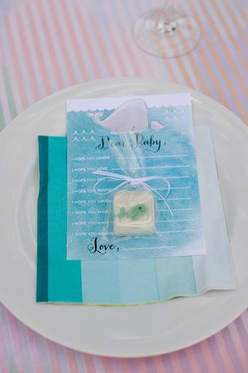 under the sea baby shower ideas, blue colors, whale soap favors
