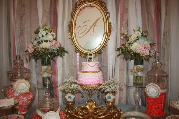 vintage glam baby shower via babyshowerideas4u, lovely pink two tier cake