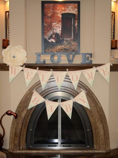 vintage glam baby shower via babyshowerideas4u, sweet baby shower treats, drink station, mason jars with flower lids, banner