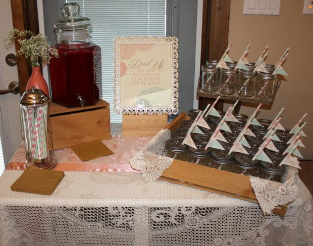 vintage glam baby shower via babyshowerideas4u, sweet baby shower treats, drink station