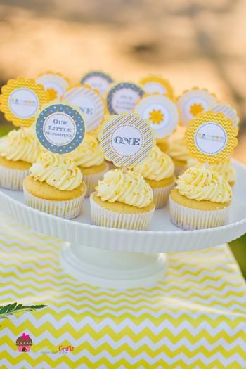 you are my sunshine grey yellow chevron party via babyshowerideas4u.com baby shower ideas and shops - cupcakes table cover runner