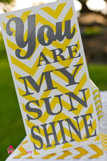 you are my sunshine grey yellow chevron party via babyshowerideas4u.com baby shower ideas and shops sign