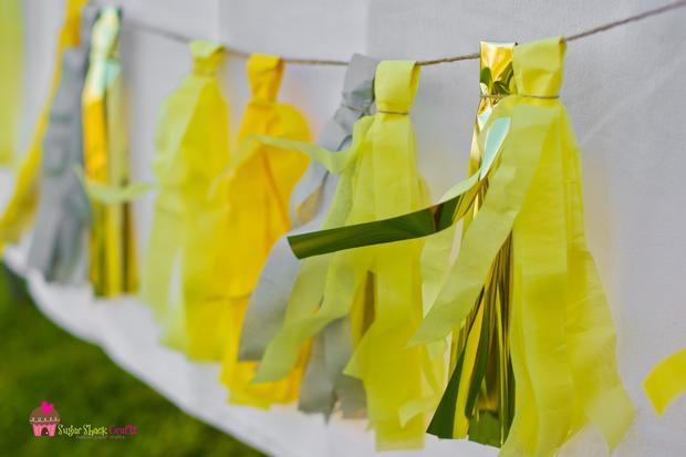 you are my sunshine grey yellow chevron party via babyshowerideas4u.com baby shower ideas tassel garland