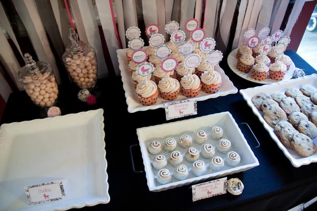 Black and White Toile Baby Shower, dessert table idea