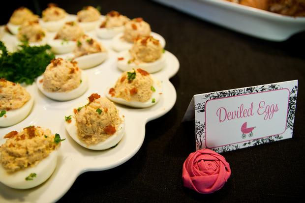 Black and White Toile Baby Shower deviled egg food ideas