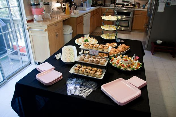 Black and White Toile Baby Shower, food table