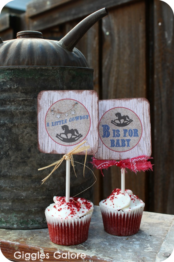 Cowboy Cupcake Toppers Lil Buckaroo Baby Shower