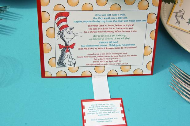 Dr. Seuss Themed Baby Shower ideas and decorations card