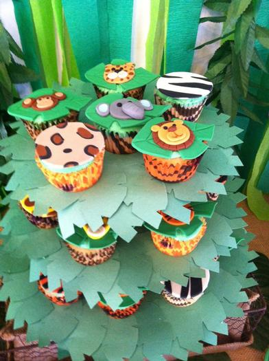 Jungle Safari Baby Shower custom animal fondant cupcake stand