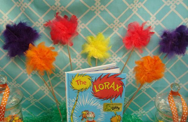 Lorax Themed Birthday Party, cute mini pom poms