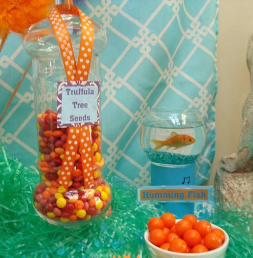 Lorax Themed Birthday Party, humming fish,