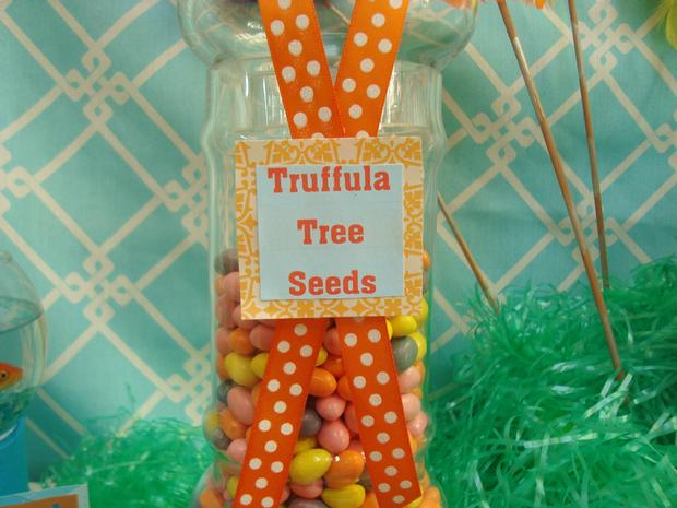 Lorax Themed Birthday Party, tree seeds, lorax themed birthday