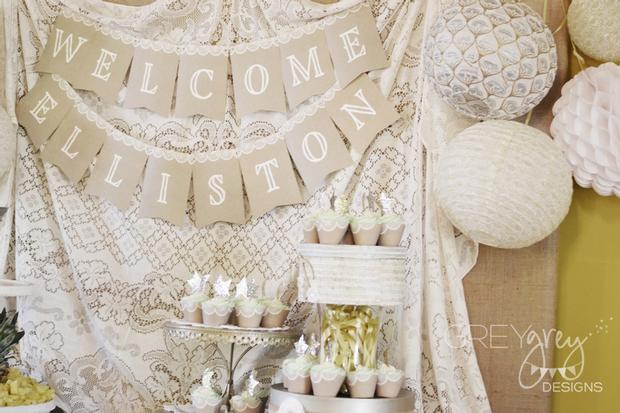Lullaby and Goodnight Baby Shower theme ideas buffet notes laces decor vase closeup