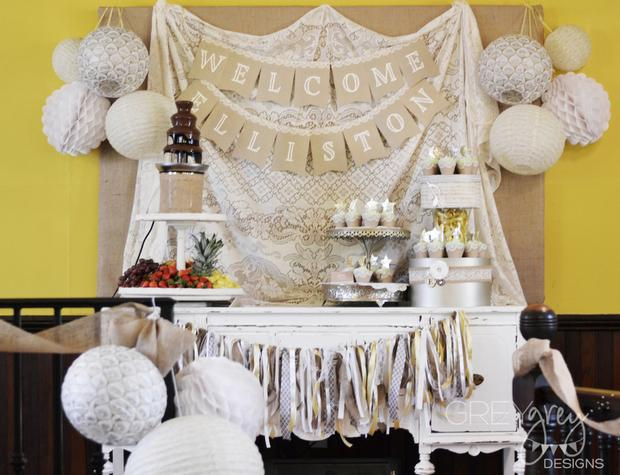 Lullaby and Goodnight Baby Shower theme ideas ivory buffet