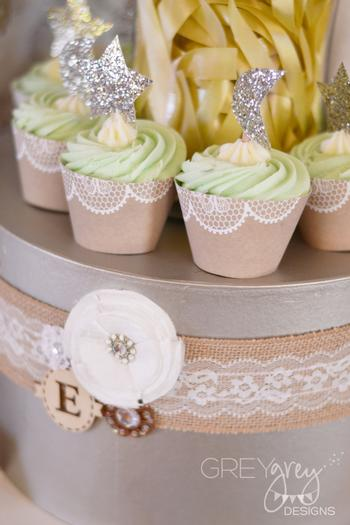 Lullaby and Goodnight Baby Shower ideas lime cupcakes, burlap, paper laces banner lantern honeycomb, glitter star toppers