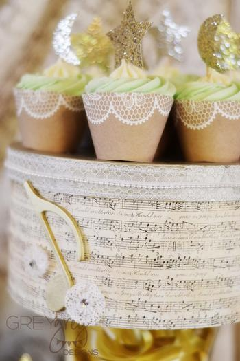 Lullaby and Goodnight Baby Shower ideas lime cupcakes, burlap, paper laces glitter