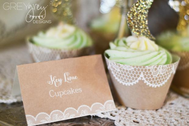 Lullaby and Goodnight Baby Shower ideas lime cupcakes, burlap, paper laces
