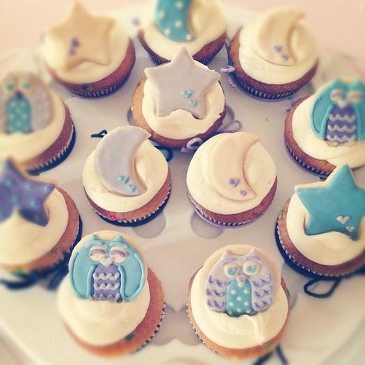 Night Owl Baby Shower, owl cake pops, night cupcakes